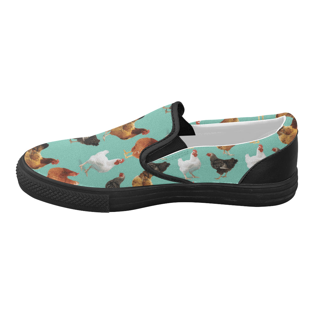 Chicken Pattern Black Women's Slip-on Canvas Shoes (Model 019) - TeeAmazing