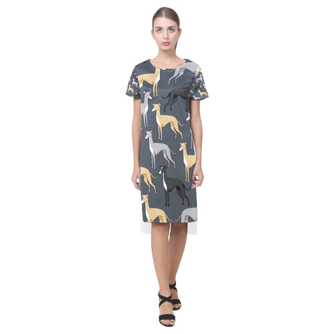Greyhound Short Sleeves Casual Dress(Model D14) - TeeAmazing