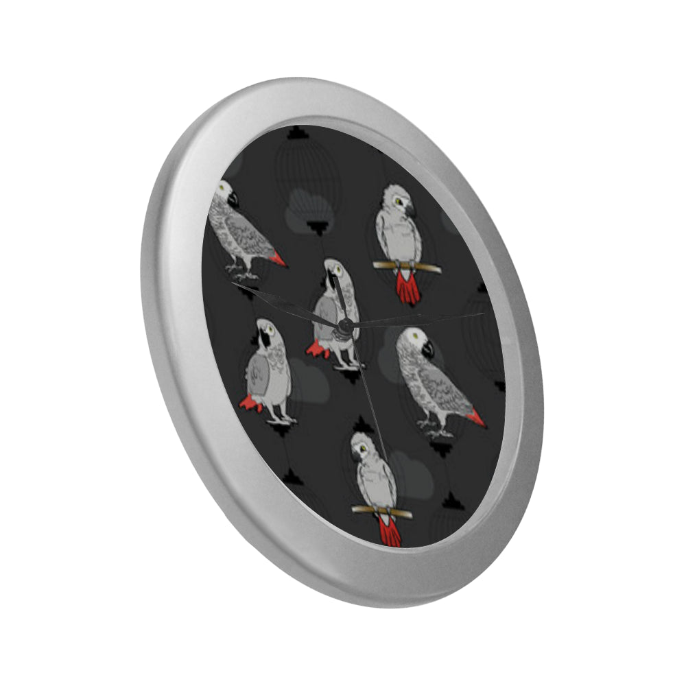 African Greys Silver Color Wall Clock - TeeAmazing
