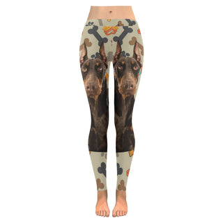 Doberman Dog Low Rise Leggings (Invisible Stitch) (Model L05) - TeeAmazing