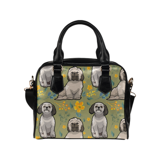 Shih Tzu Flower Shoulder Handbag - TeeAmazing
