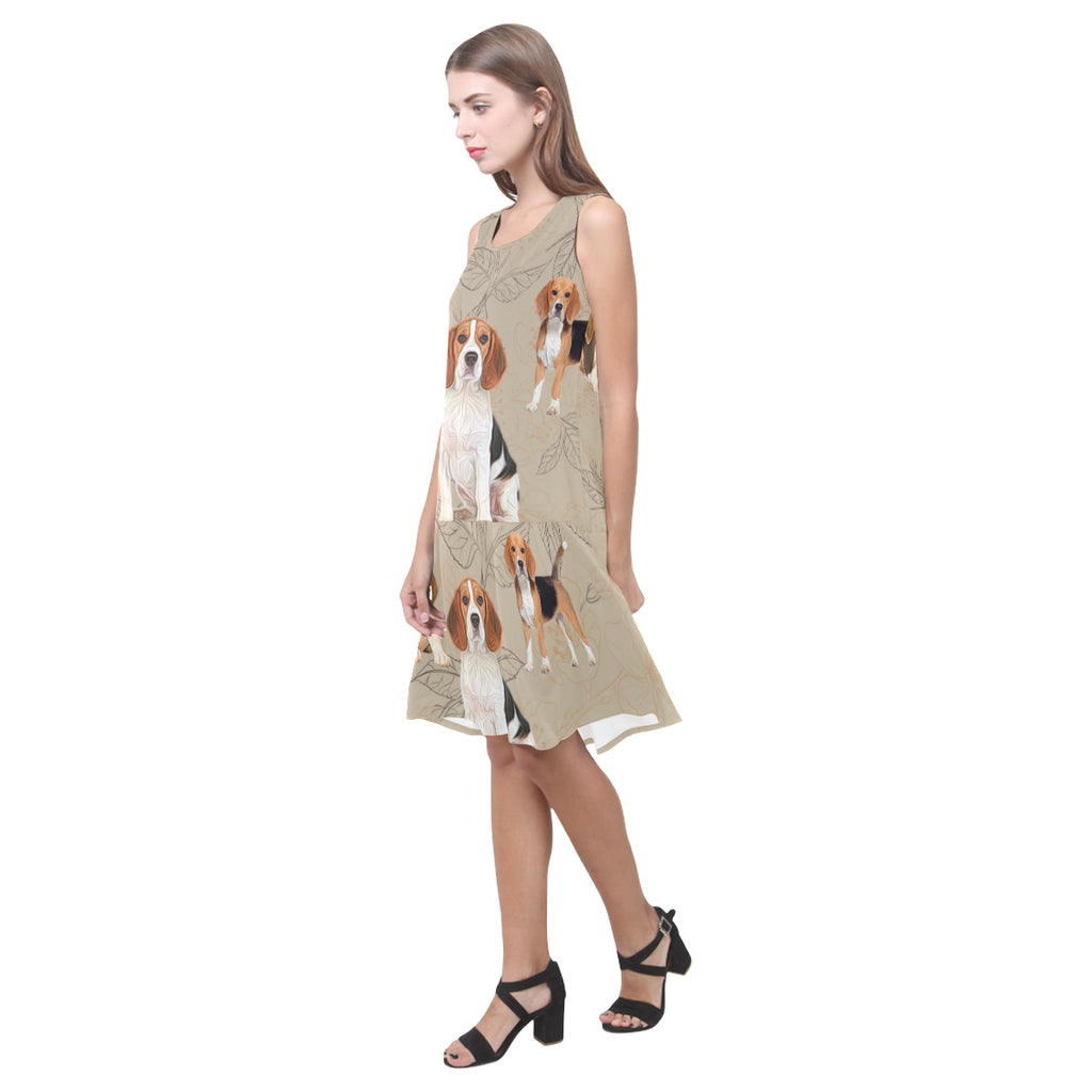 Beagle Lover Sleeveless Splicing Shift Dress - TeeAmazing