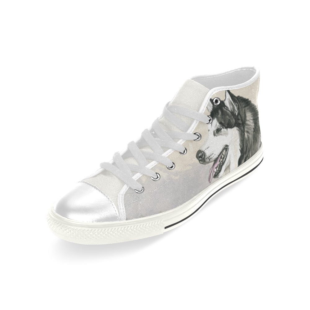 Alaskan Malamute Water Colour White Men's Classic High Top Canvas Shoes (Model 017) - TeeAmazing