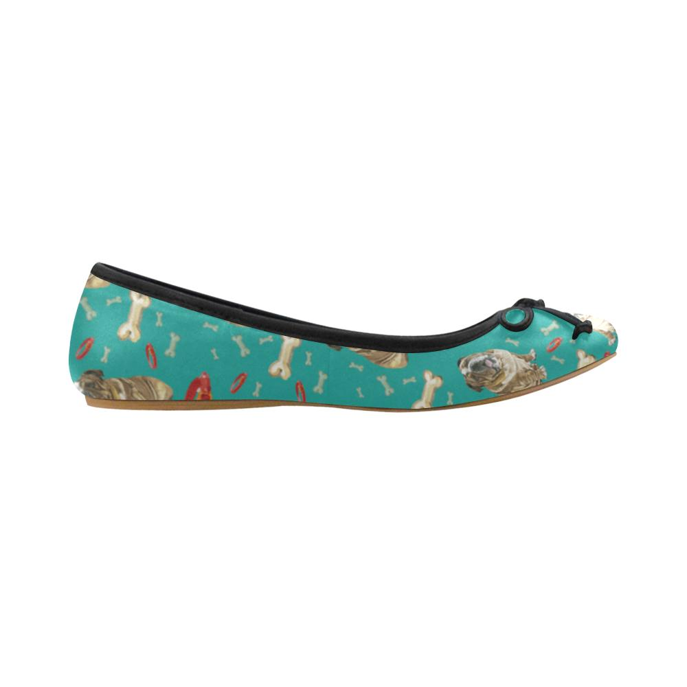 English Bulldog Water Colour Pattern No.1 Juno Ballet Pumps - TeeAmazing