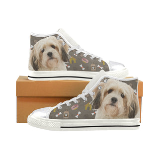 Cavachon Dog White Women's Classic High Top Canvas Shoes (Model 017) - TeeAmazing