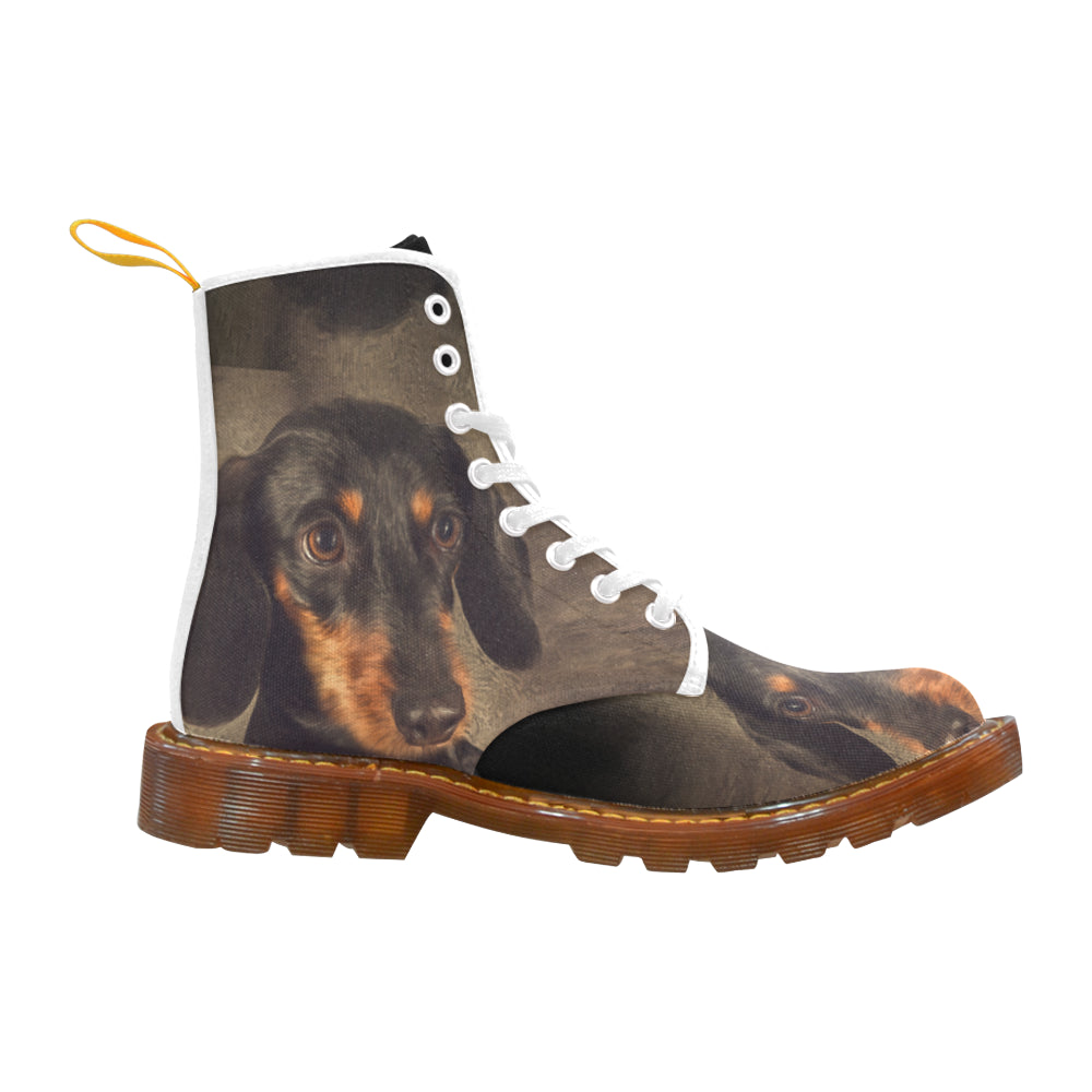 Dachshund Portrait White Boots For Women - TeeAmazing