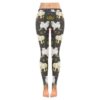 American Eskimo Dog Flower Low Rise Leggings (Invisible Stitch) (Model L05) - TeeAmazing