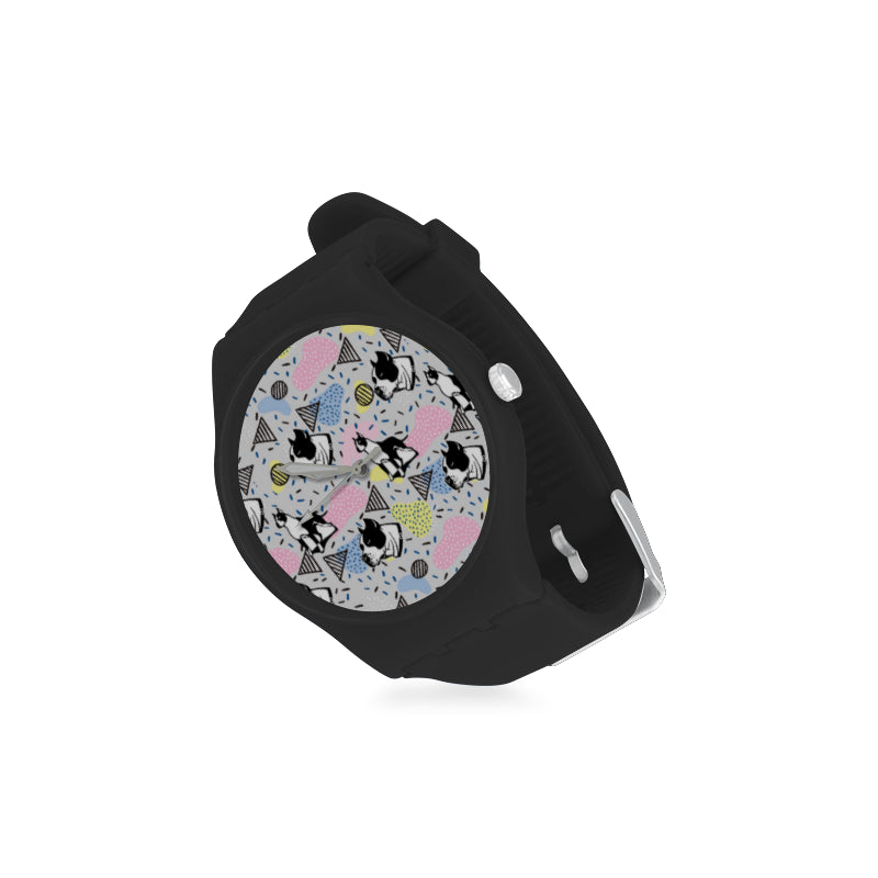American Staffordshire Terrier Pattern Black Unisex Round Rubber Sport Watch - TeeAmazing