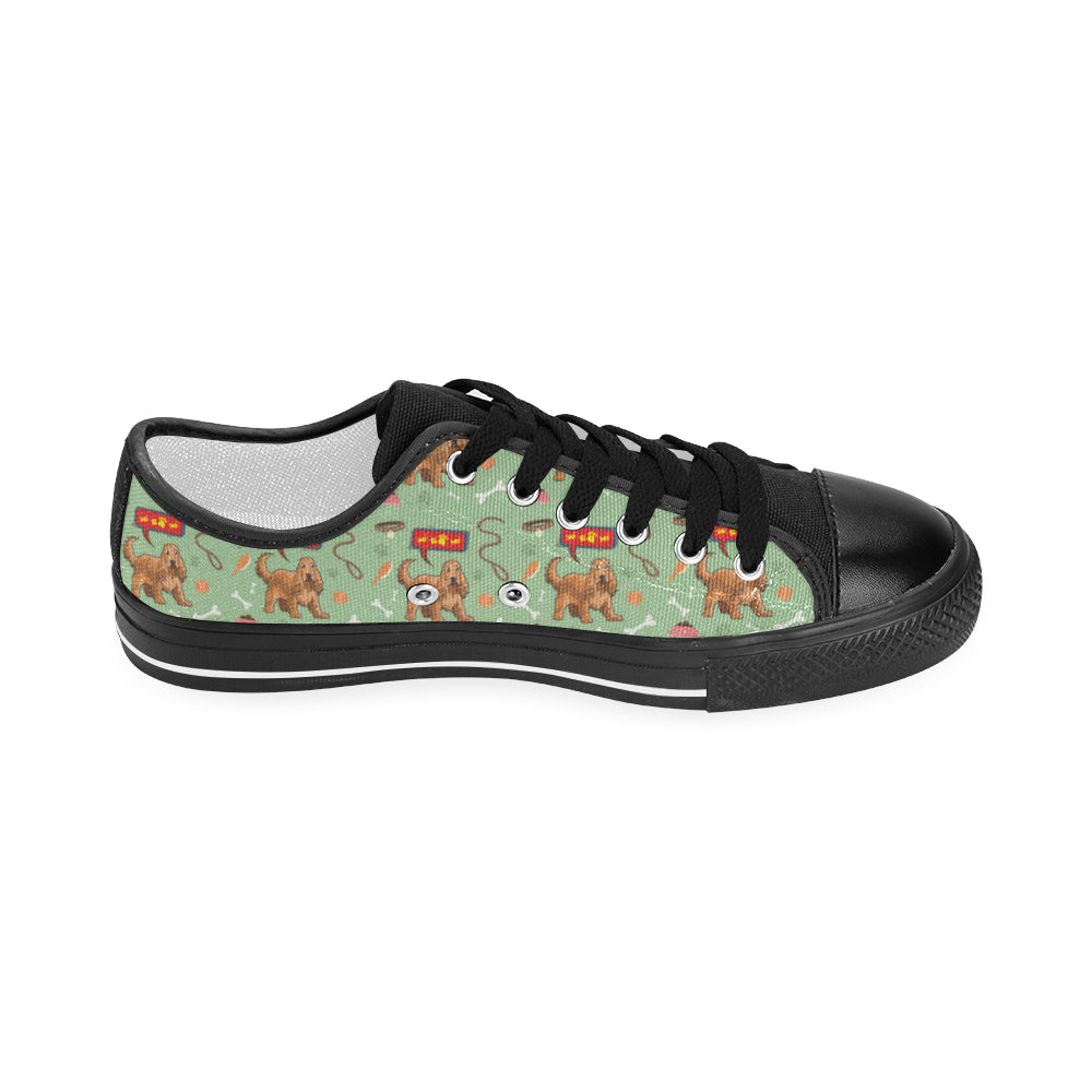 American Cocker Spaniel Pattern Black Men's Classic Canvas Shoes - TeeAmazing