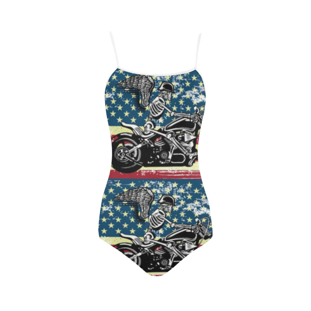 Skeleton Biker Strap Swimsuit - TeeAmazing