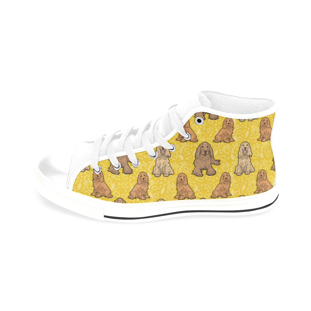 Cocker Spaniel White Men's Classic High Top Canvas Shoes /Large Size - TeeAmazing