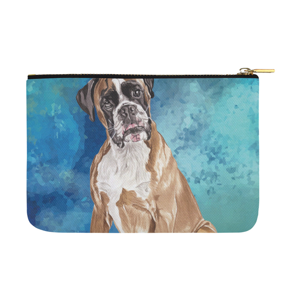Boxer Water Colour Carry-All Pouch 12.5x8.5 - TeeAmazing