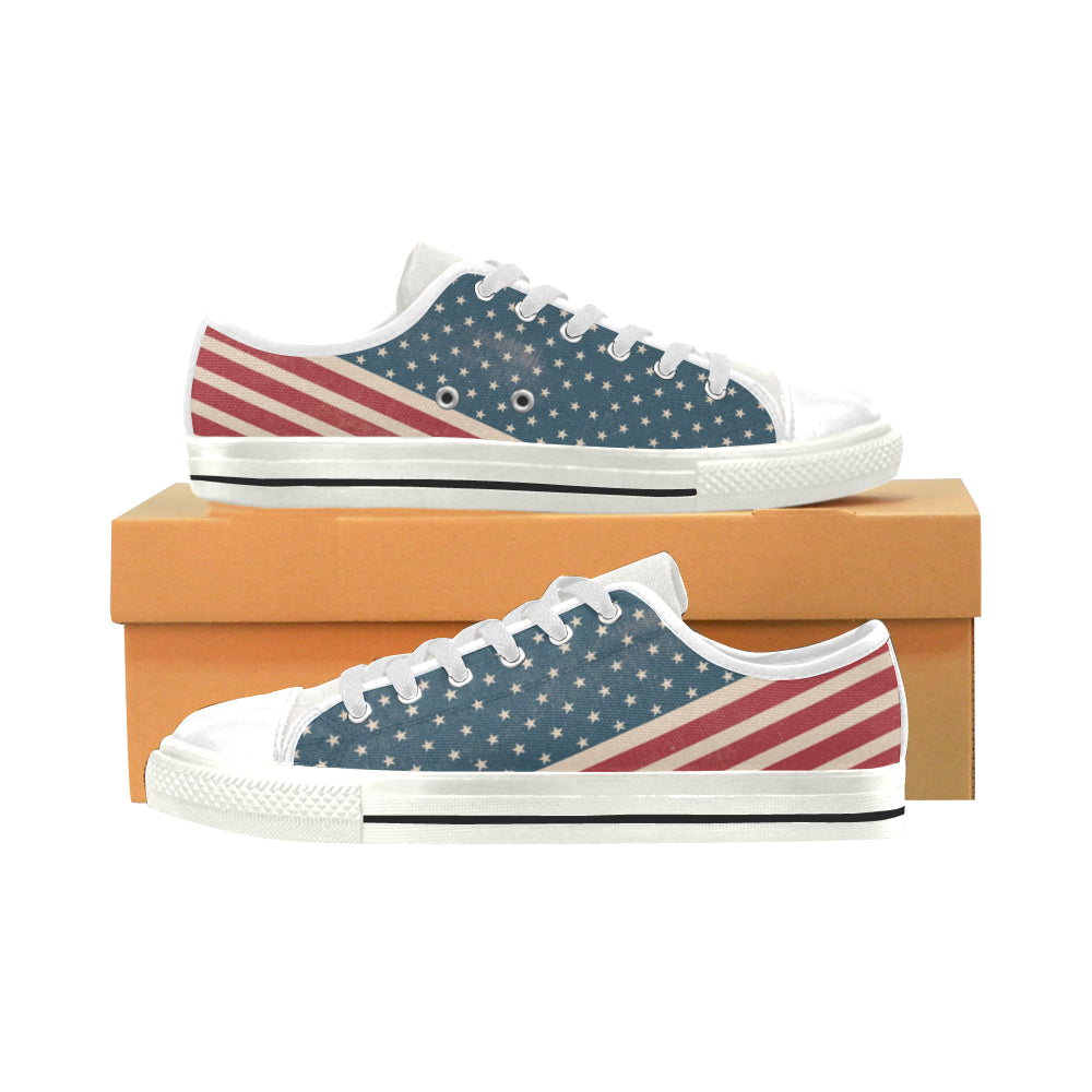 4th July V2 White Low Top Canvas Shoes for Kid - TeeAmazing