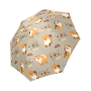 Pomeranian Pattern Foldable Umbrella - TeeAmazing