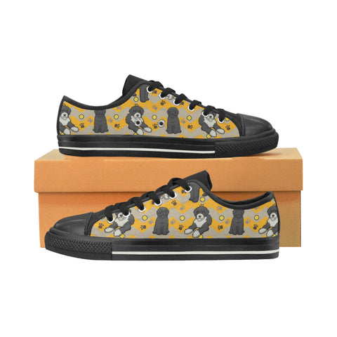 Portuguese water dog Black Low Top Canvas Shoes for Kid (Model 018) - TeeAmazing