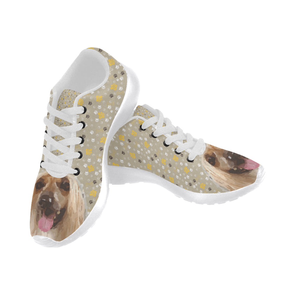 Afghan Hound White Sneakers for Women - TeeAmazing