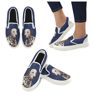 Dalmatian Lover White Women's Slip-on Canvas Shoes - TeeAmazing