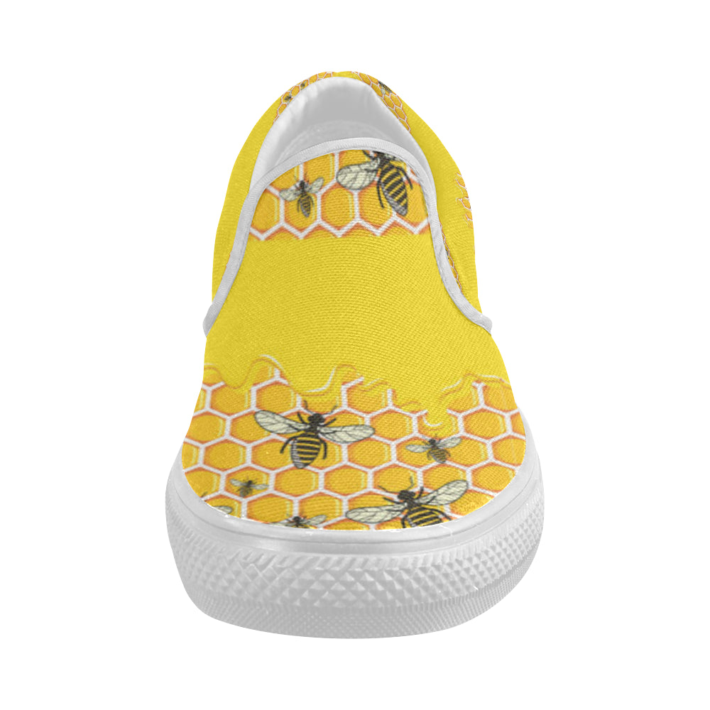 Bee Pattern White Women's Slip-on Canvas Shoes - TeeAmazing