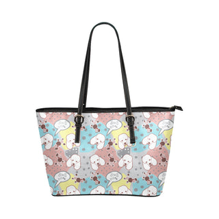 Poodle Pattern Leather Tote Bag/Small - TeeAmazing