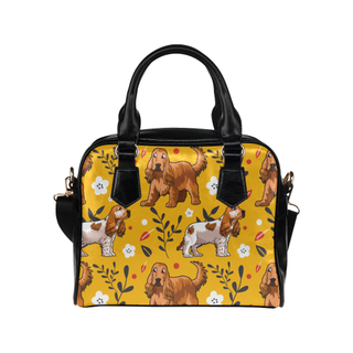 English Cocker Spaniel Flower Shoulder Handbag - TeeAmazing