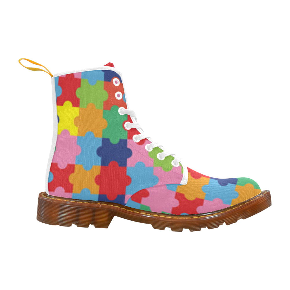 Autism White Boots For Women - TeeAmazing
