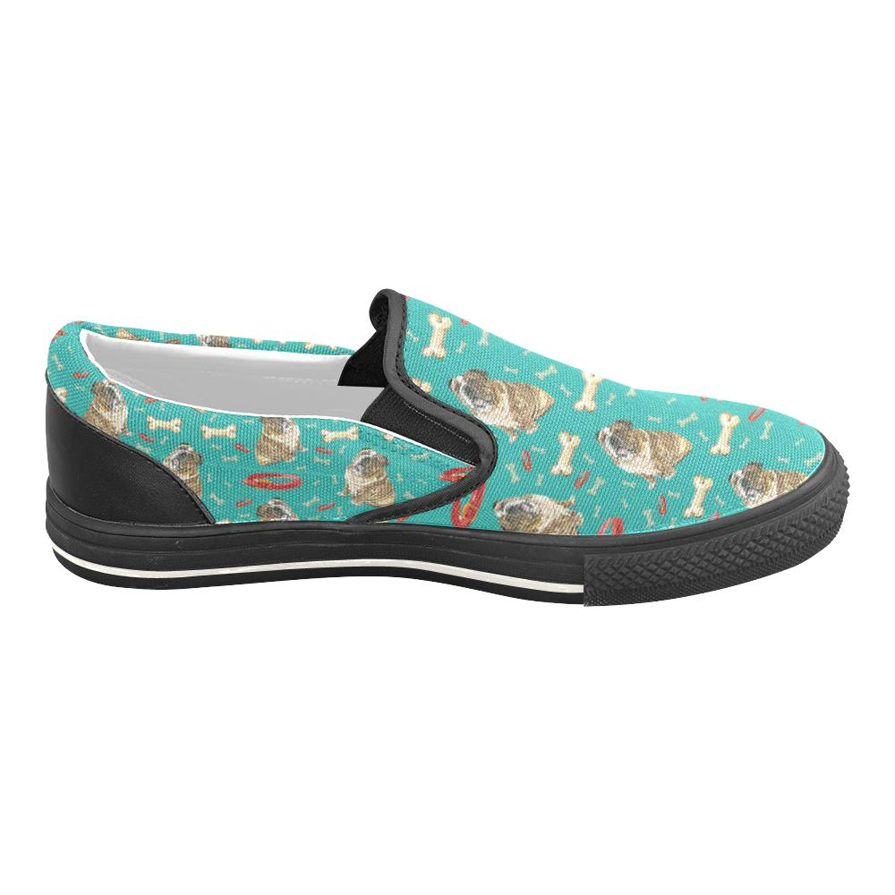 English Bulldog Water Colour Pattern No.1 Black Women's Slip-on Canvas Shoes/Large Size (Model 019) - TeeAmazing