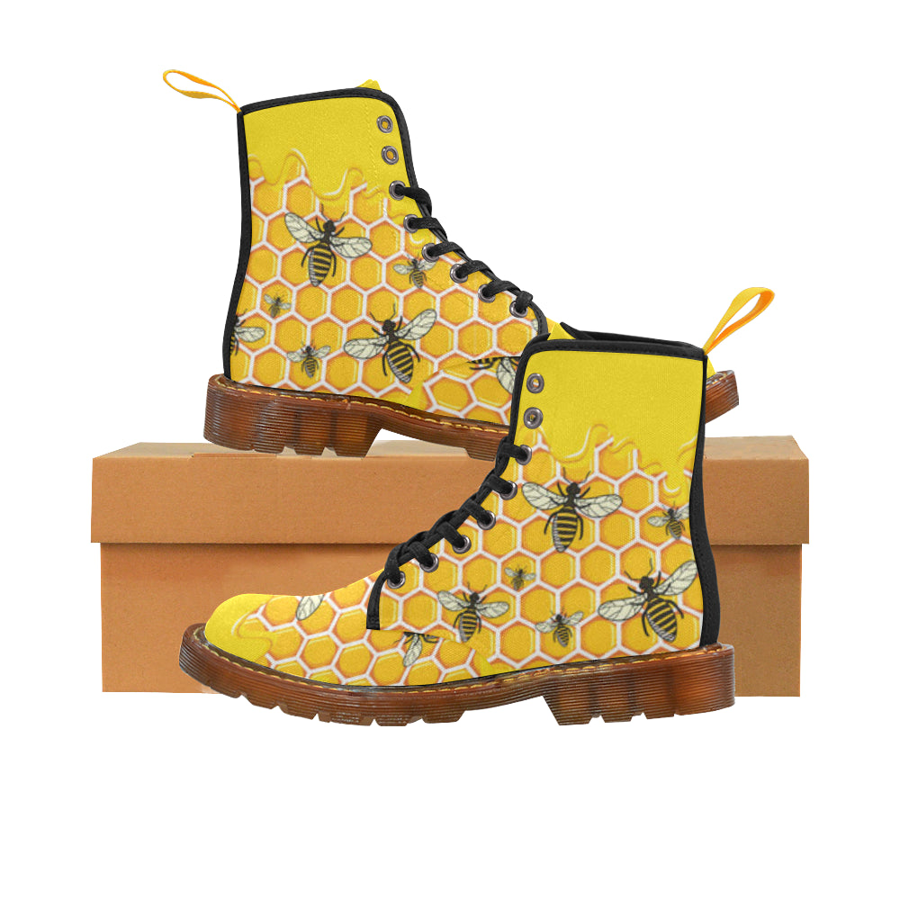 Bee Pattern Black Boots For Women - TeeAmazing