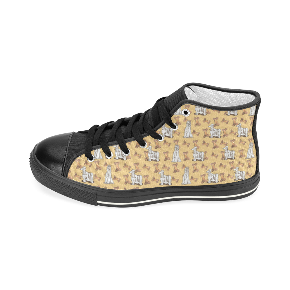 Afghan Hound Pattern Black Men's Classic High Top Canvas Shoes - TeeAmazing
