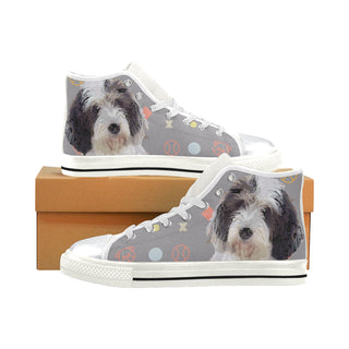 Petit Basset Griffon Vendéen White High Top Canvas Women's Shoes/Large Size - TeeAmazing