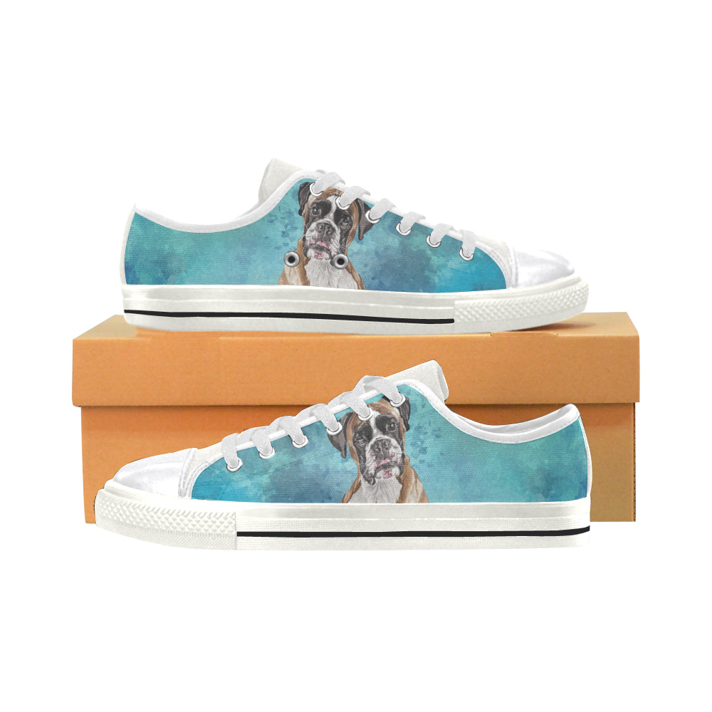 Boxer Water Colour White Canvas Women's Shoes/Large Size - TeeAmazing