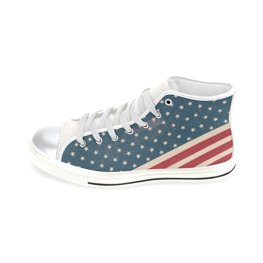 4th July V2 White High Top Canvas Shoes for Kid - TeeAmazing