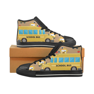 207a828ee7 School Bus Black High Top Canvas Shoes for Kid - TeeAmazing