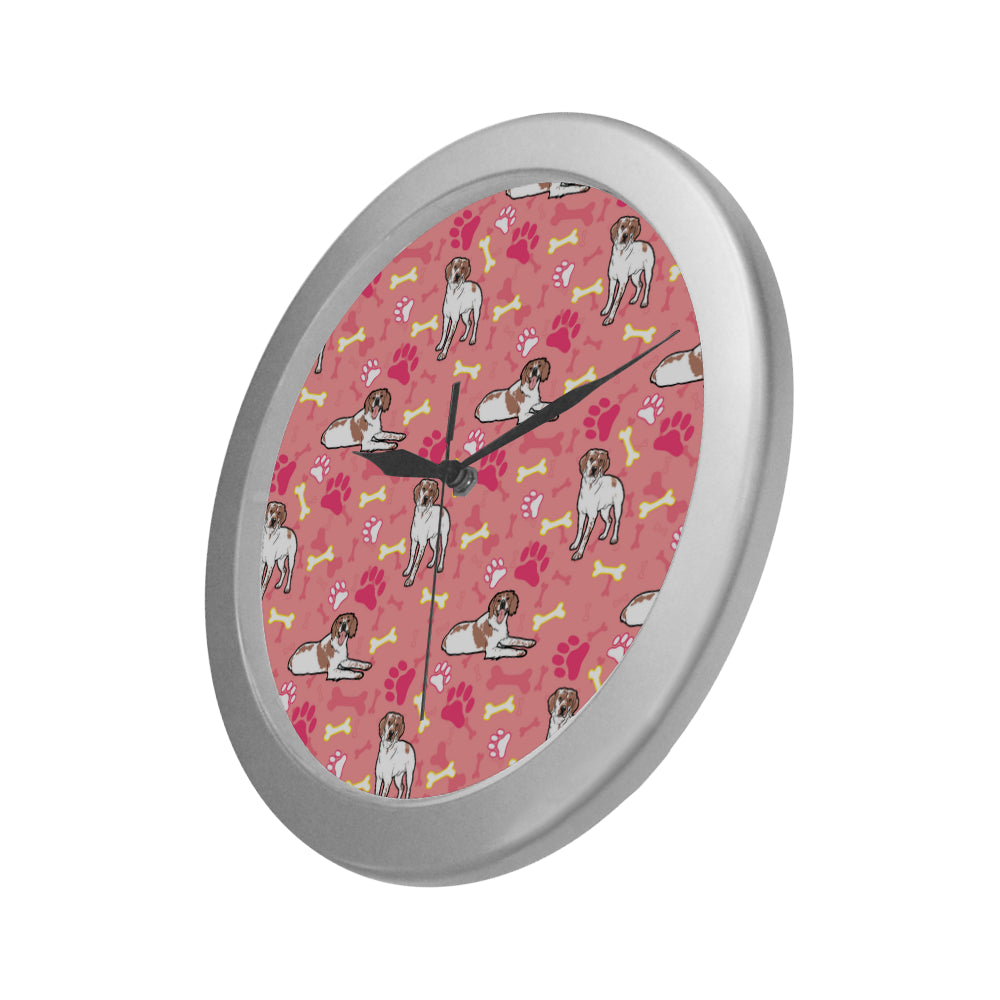 Brittany Spaniel Pattern Silver Color Wall Clock - TeeAmazing