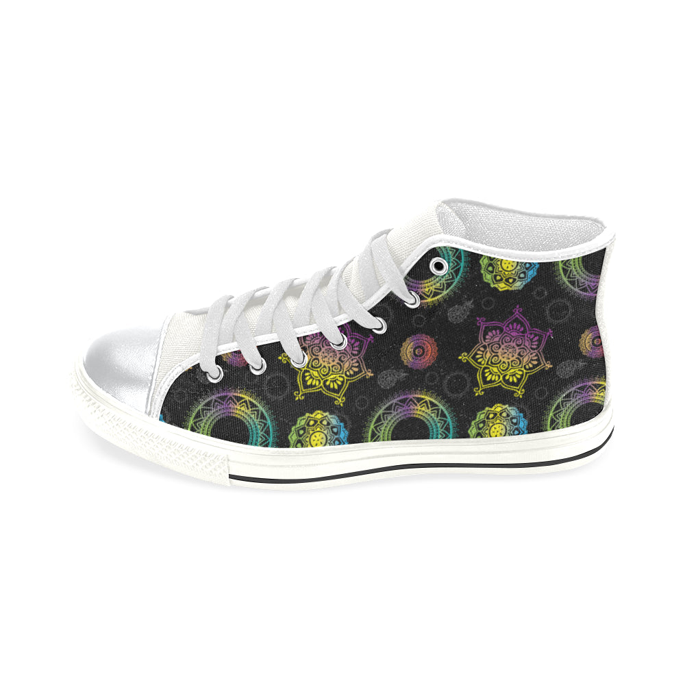 Chakra White High Top Canvas Women's Shoes/Large Size - TeeAmazing