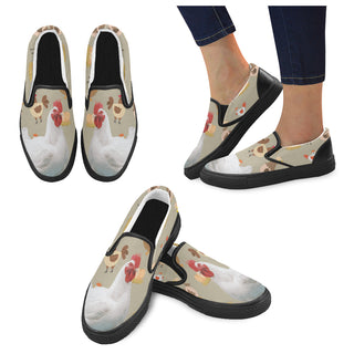 Chicken Lover Black Women's Slip-on Canvas Shoes - TeeAmazing