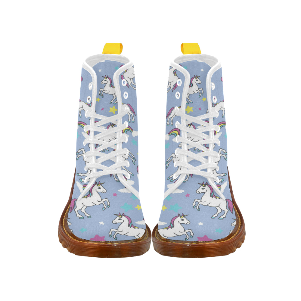Unicorn Pattern White Boots For Women - TeeAmazing