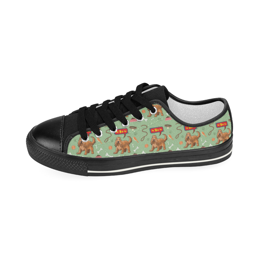 American Cocker Spaniel Pattern Black Women's Classic Canvas Shoes - TeeAmazing