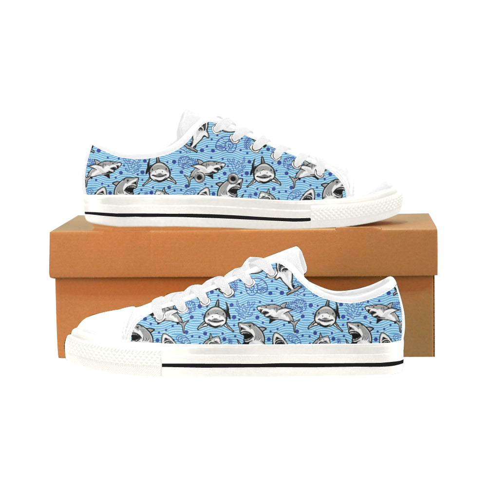 Shark White Men's Classic Canvas Shoes/Large Size - TeeAmazing