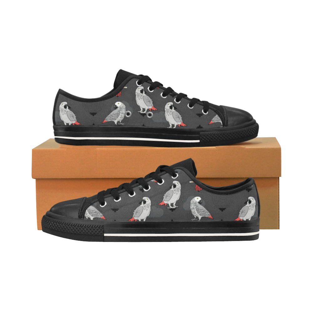 African Greys Black Men's Classic Canvas Shoes/Large Size - TeeAmazing