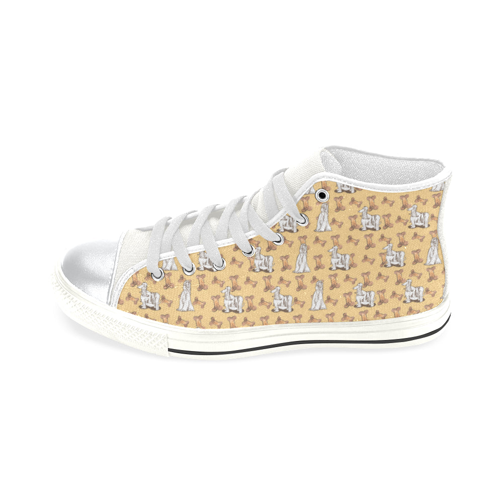 Afghan Hound Pattern White High Top Canvas Women's Shoes/Large Size - TeeAmazing