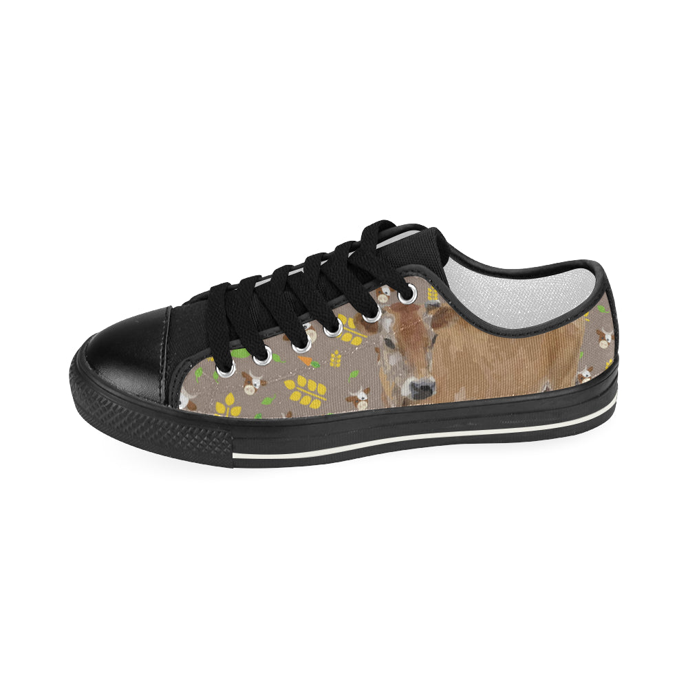 Cow Black Women's Classic Canvas Shoes - TeeAmazing