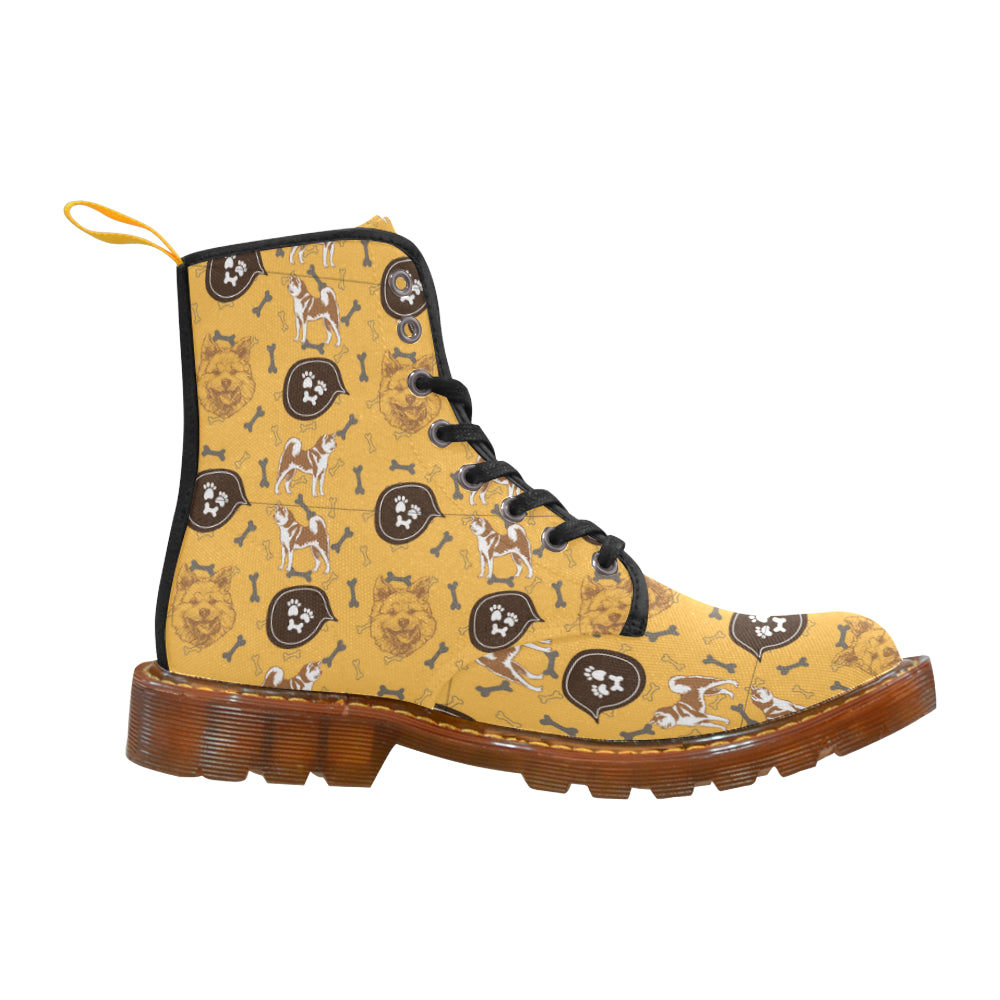 Akita Pattern Black Boots For Women - TeeAmazing