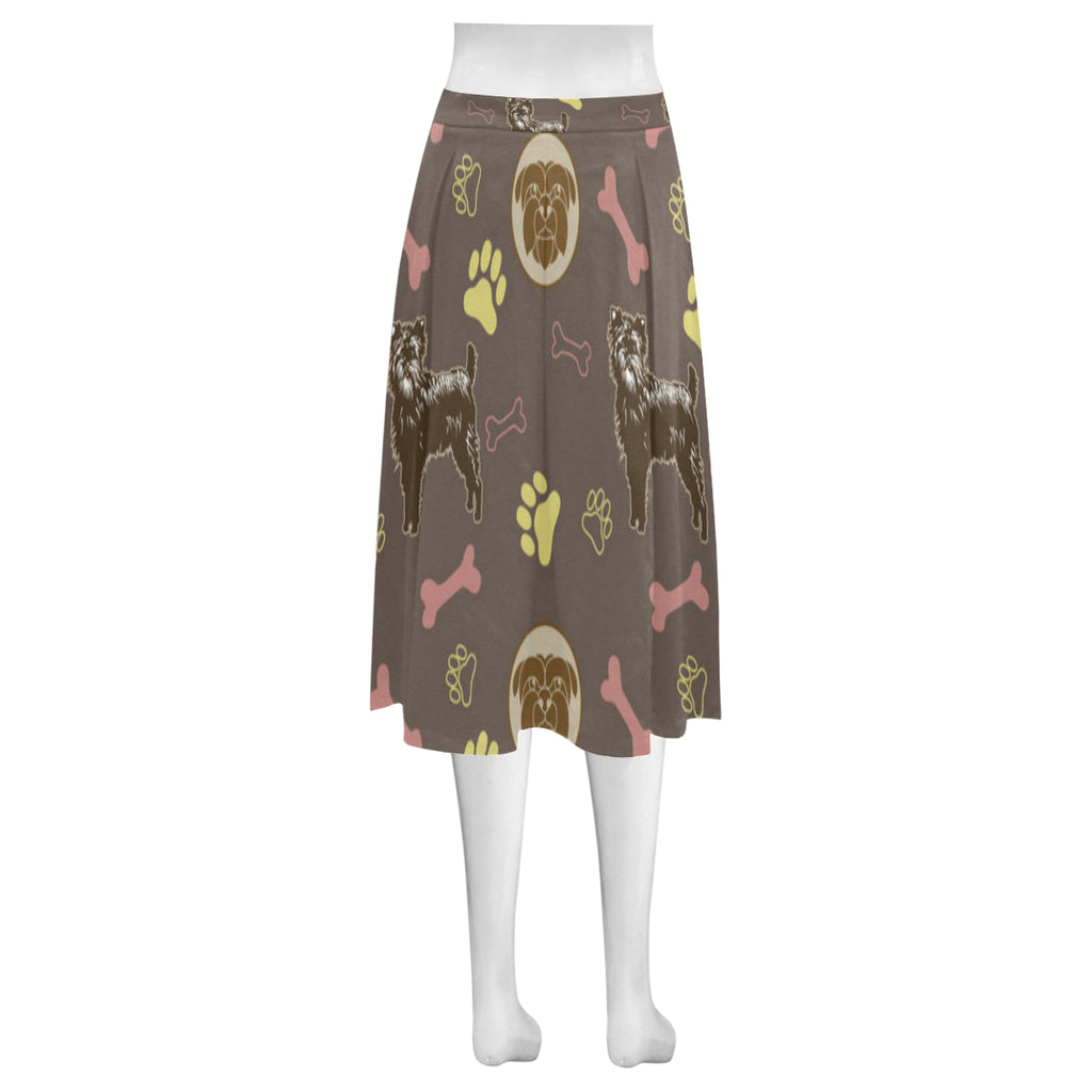 Affenpinschers Pattern Mnemosyne Women's Crepe Skirt (Model D16) - TeeAmazing