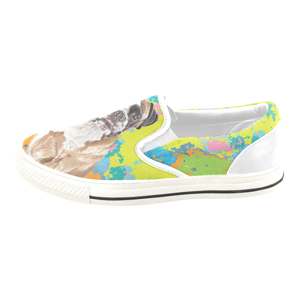 Boxer Water Colour No.2 White Women's Slip-on Canvas Shoes/Large Size (Model 019) - TeeAmazing