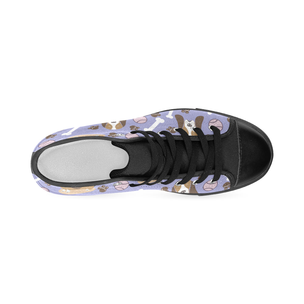 Basset Hound Pattern Black Men's Classic High Top Canvas Shoes - TeeAmazing