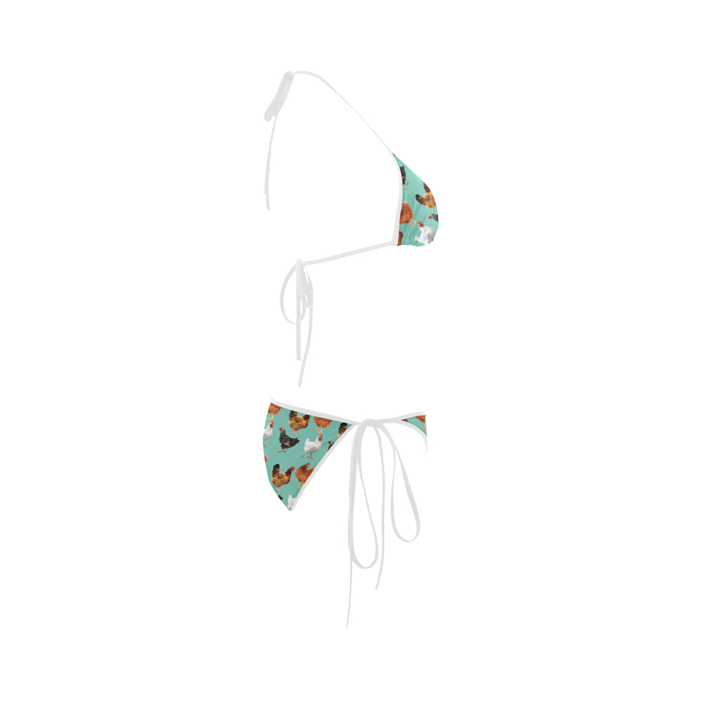 Chicken Pattern Custom Bikini Swimsuit - TeeAmazing
