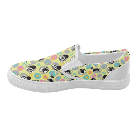 Boston Terrier Pattern White Women's Slip-on Canvas Shoes (Model 019) - TeeAmazing