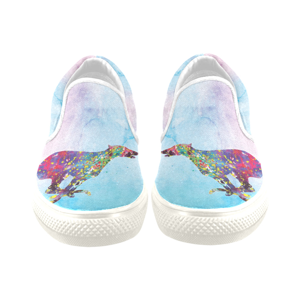 Greyhound Running No.1 White Women's Slip-on Canvas Shoes/Large Size (Model 019) - TeeAmazing