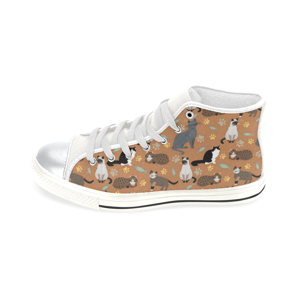 Cat Pattern White High Top Canvas Women's Shoes/Large Size - TeeAmazing