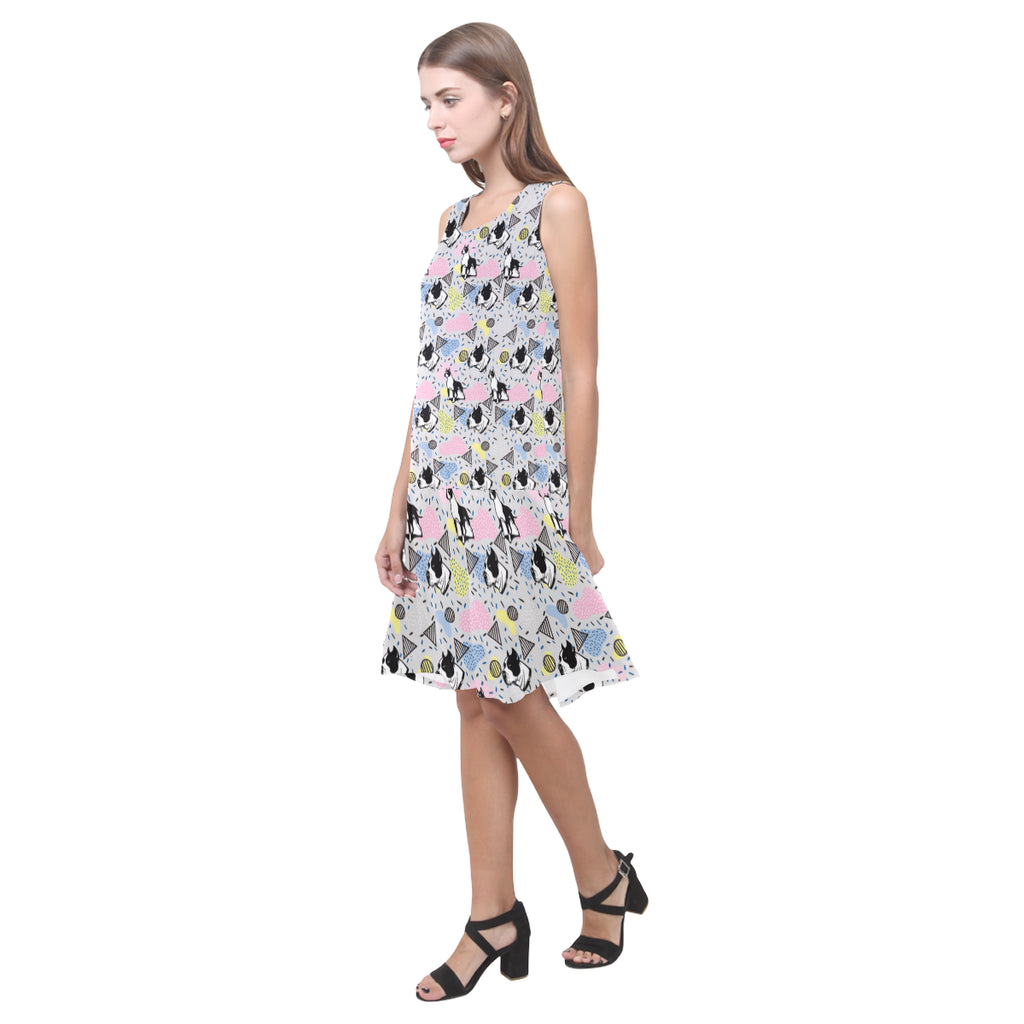 American Staffordshire Terrier Pattern Sleeveless Splicing Shift Dress - TeeAmazing